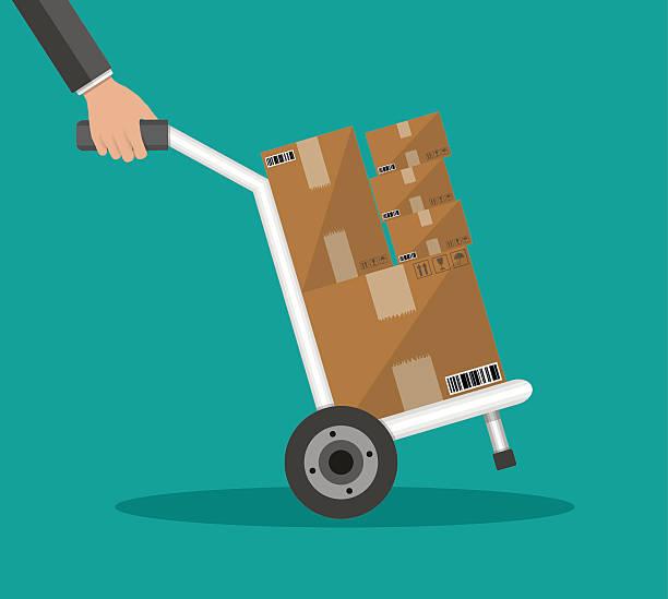 metalowe wózek transportowy z pudełka - wózek transportowy stock illustrations