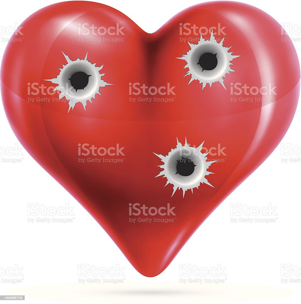 Metallic heart with bullet holes royalty-free stock vector art
