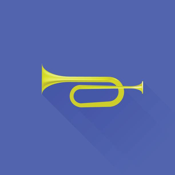 Metallic Horn Icon vector art illustration