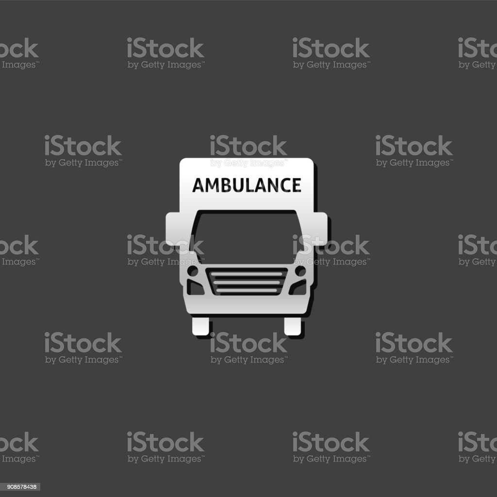 Metallic Icon - Ambulance vector art illustration
