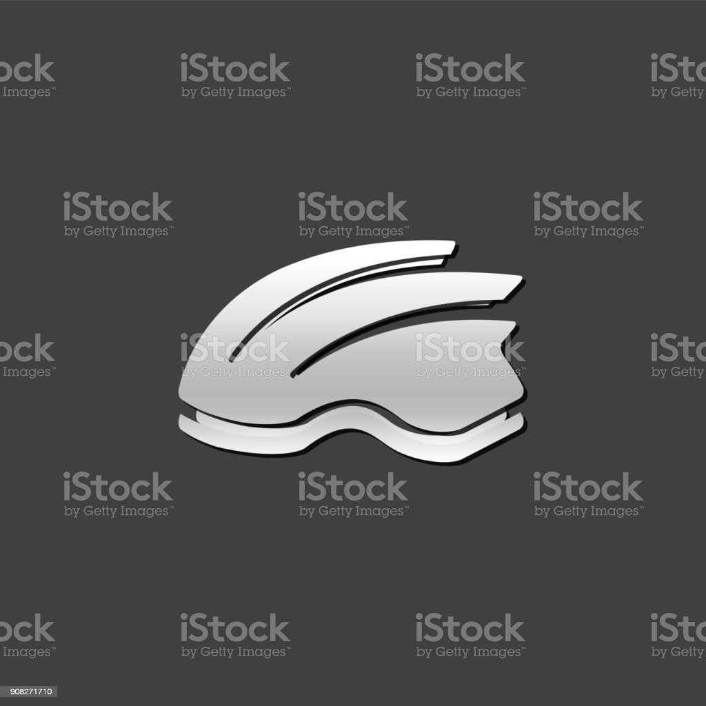 Metallic Icon - Bicycle helmet vector art illustration