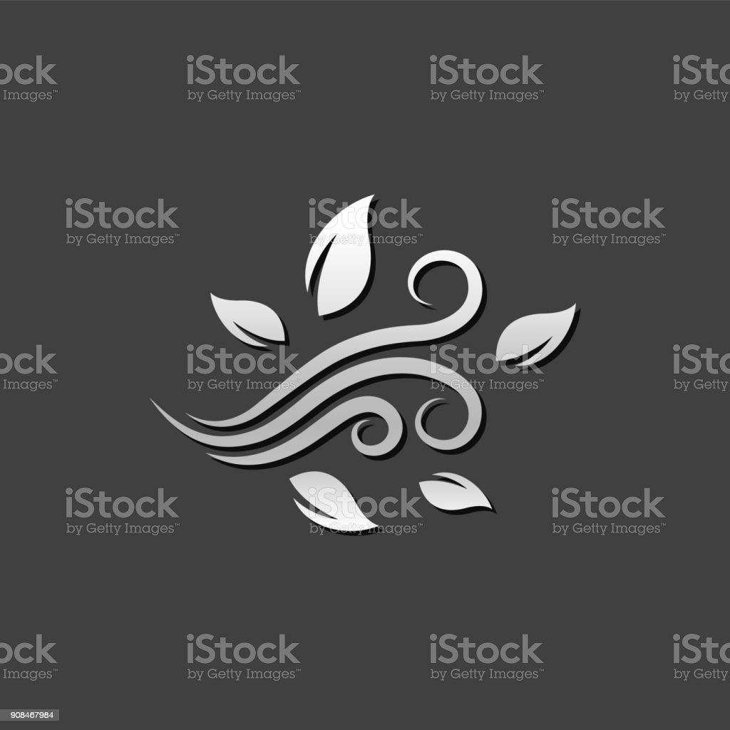 Metallic Icon - Blowing Leaves vector art illustration