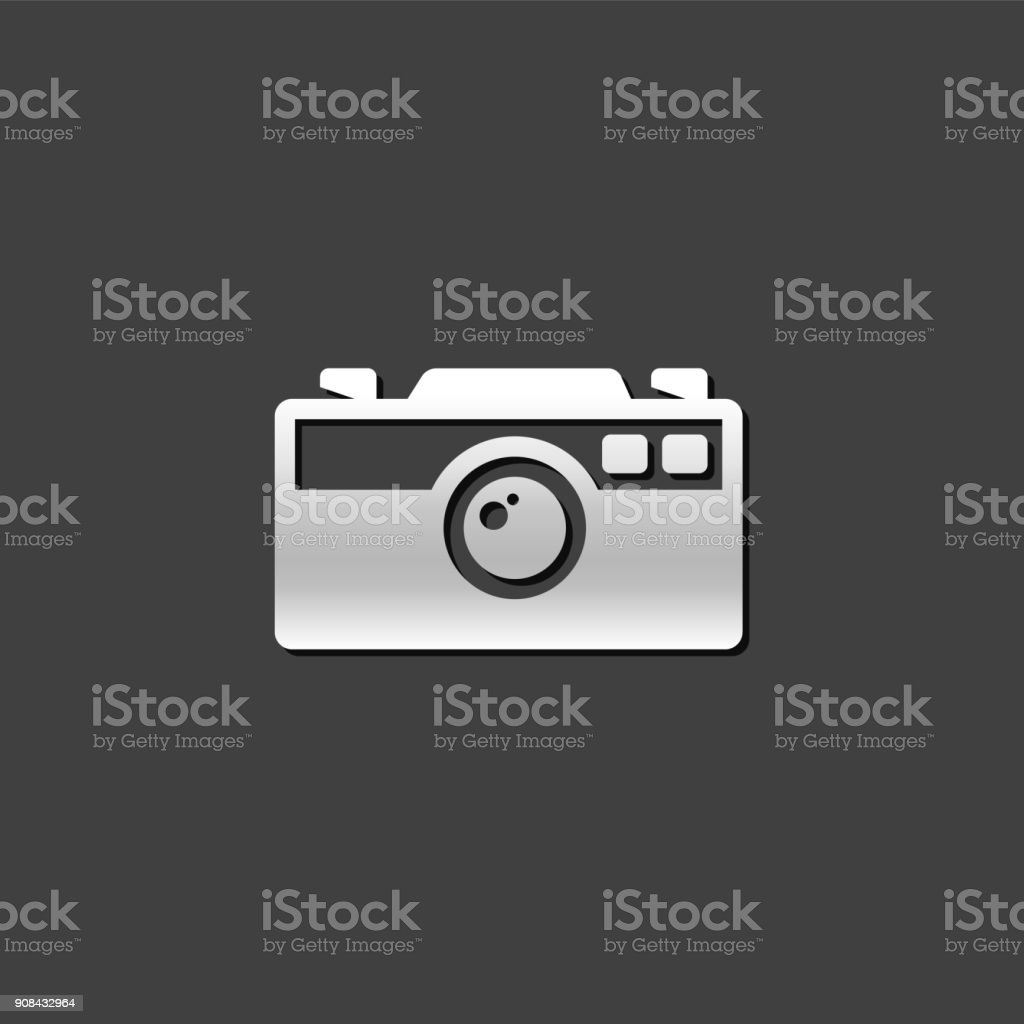 Metallic Icon - Camera vector art illustration