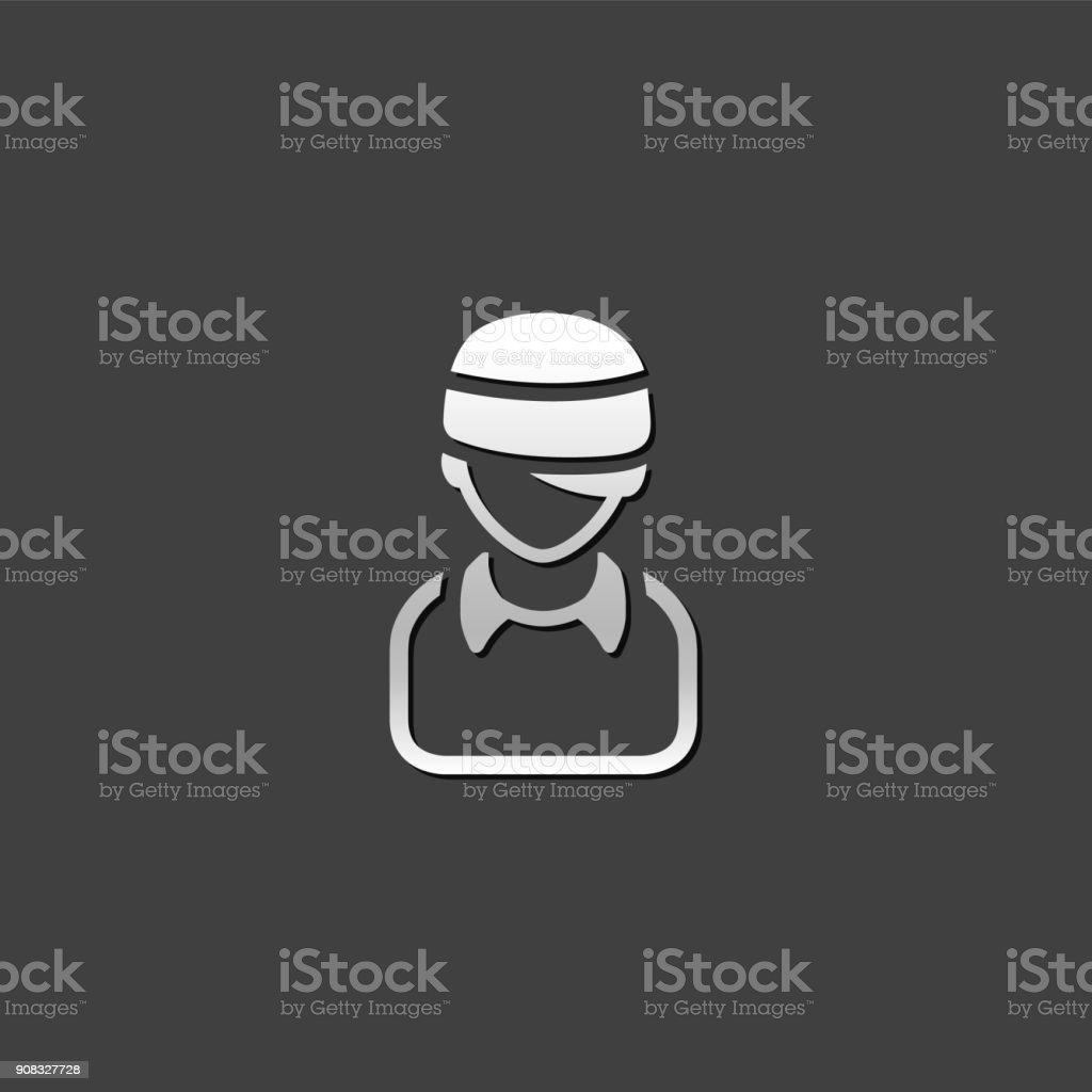 Metallic Icon - Injured head vector art illustration