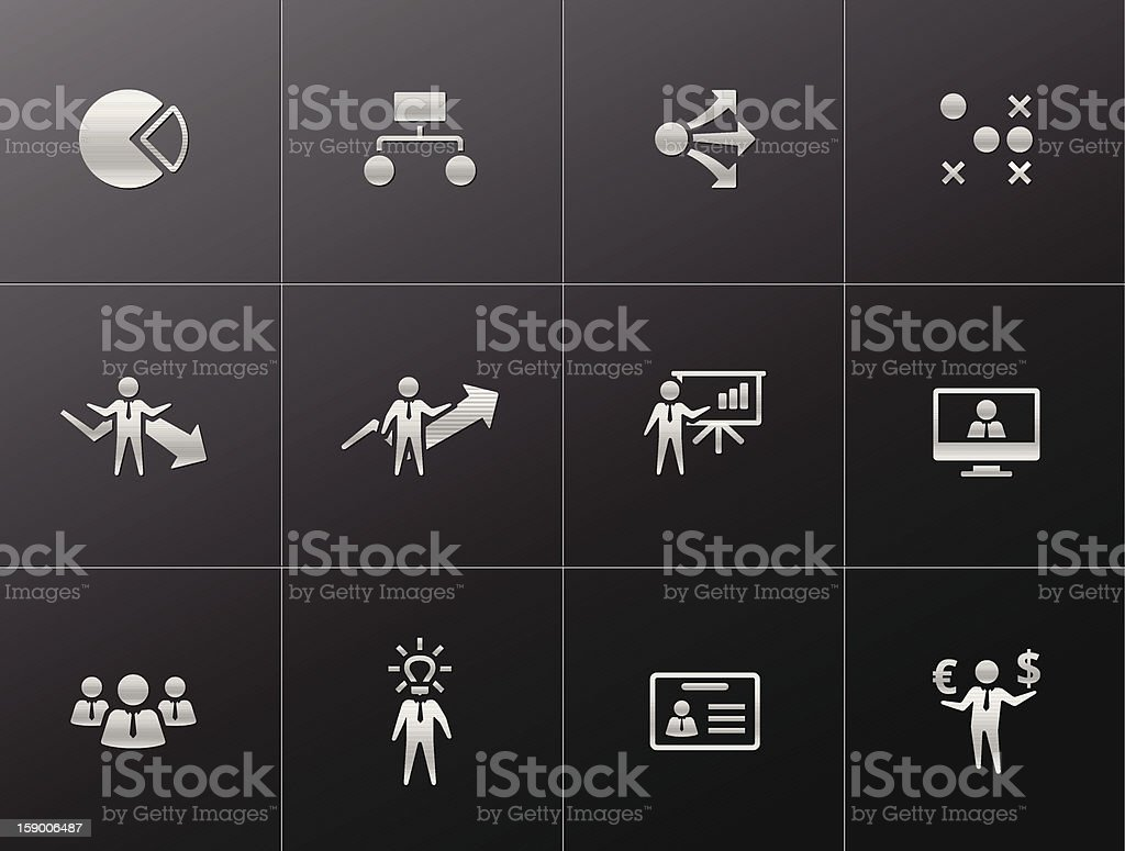 Metallic  Icons - Business royalty-free metallic icons business stock vector art & more images of arrow symbol