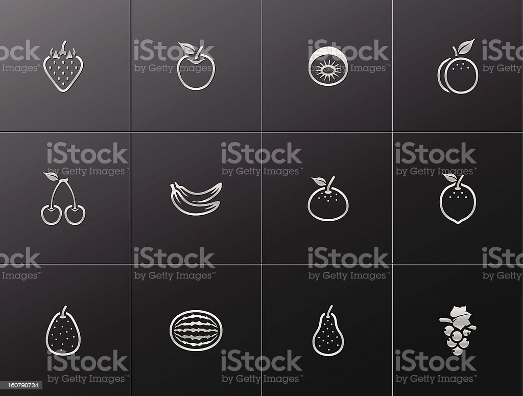 Metallic Icons - Fresh Fruits royalty-free stock vector art
