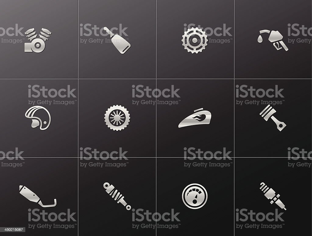 Metallic Icons - Motorcycle Parts royalty-free metallic icons motorcycle parts stock vector art & more images of auto repair shop