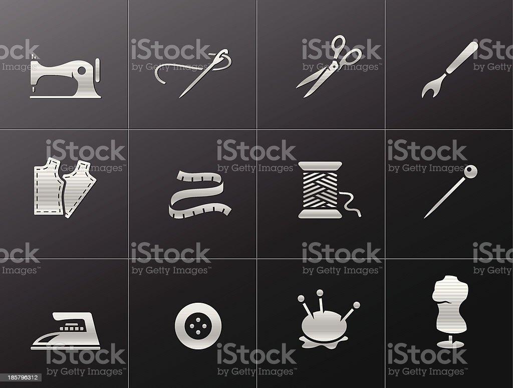 Metallic Icons - Sewing vector art illustration