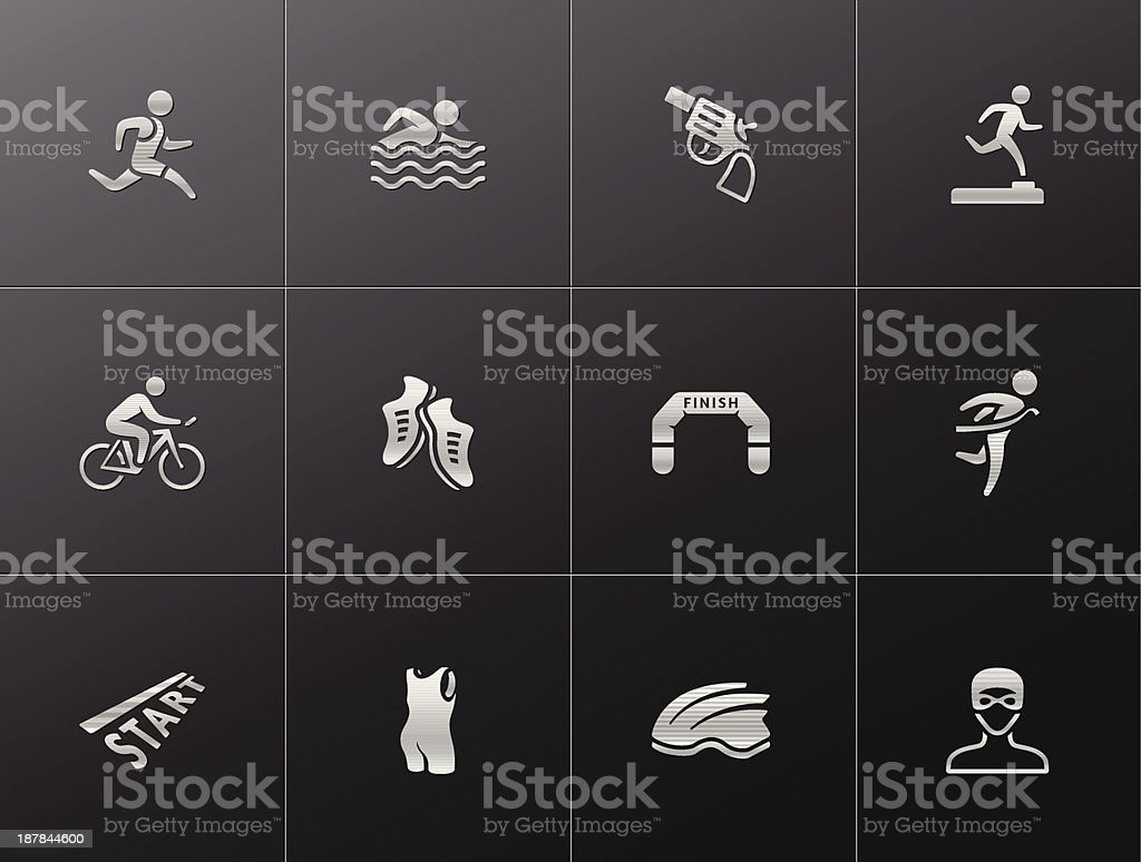 Metallic Icons - Triathlon royalty-free stock vector art