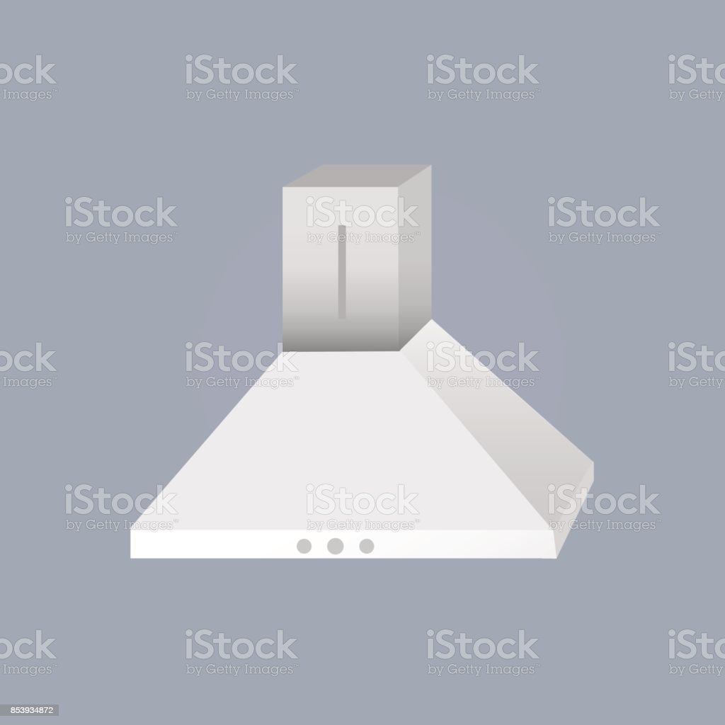 Metallic Kitchen Extractor Fan Cooker Hood Isolated On Grey Background Stock Illustration Download Image Now Istock