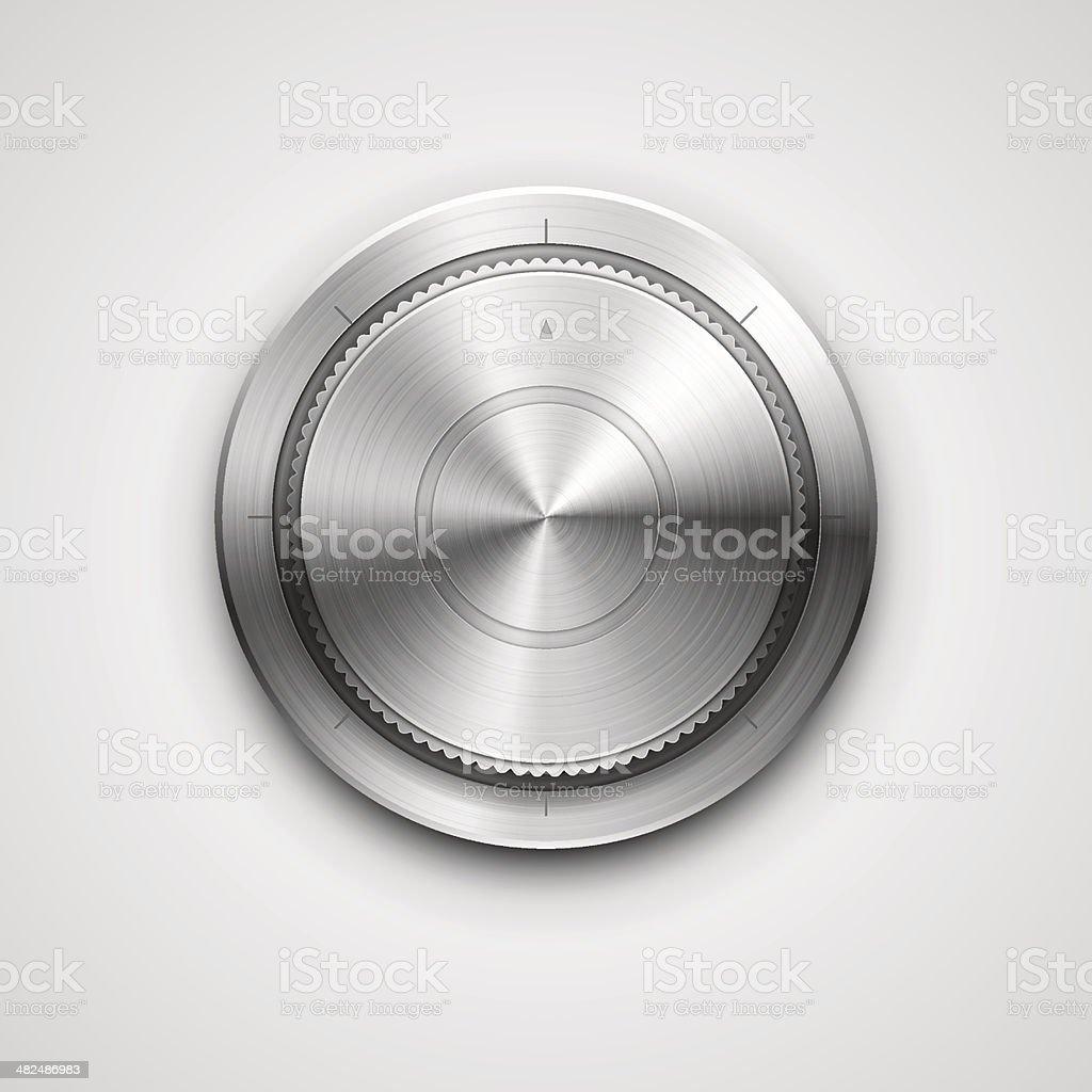 Metallic knob vector art illustration