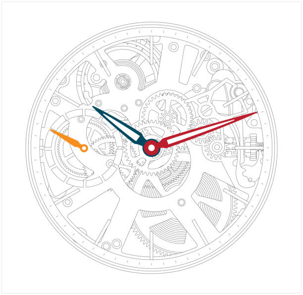 Metallic mechanical watch and clock component. vector art illustration