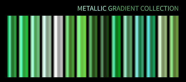 Metallic neon green chrome gradient vector colorful palette set. Holographic background color swatch template for banner, screen, mobile, label, web. Metal color gradient vector design