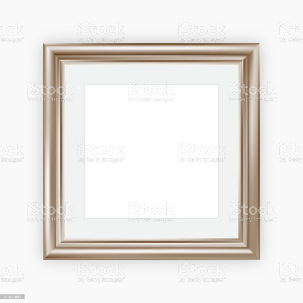 Metallic picture frame with mount vector art illustration