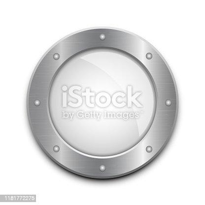 Beautiful vector design illustration of metallic porthole window isolated on white background