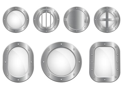 Beautiful vector design illustration of metallic porthole window set isolated on white background