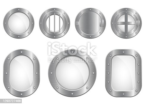 istock Metallic porthole window vector design illustration isolated on white background 1293727466