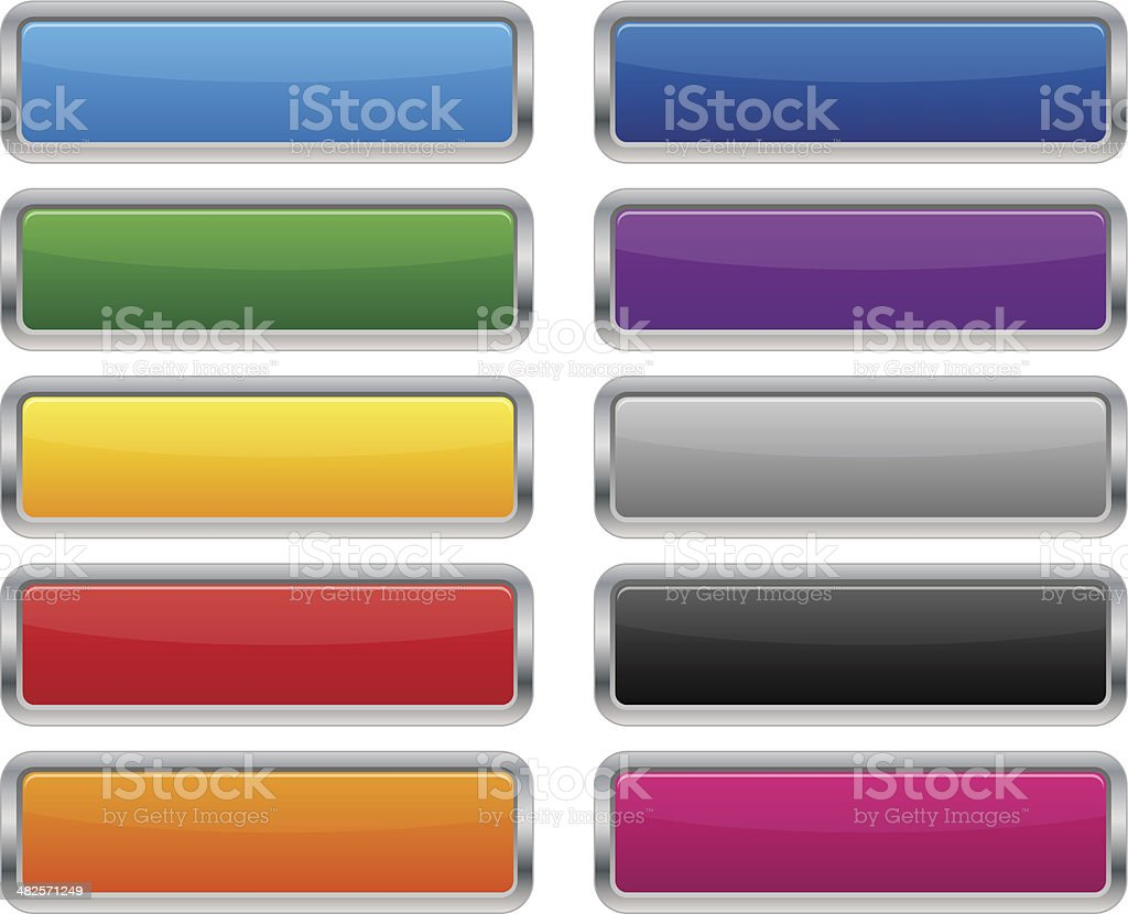 Metallic rectangular buttons vector art illustration