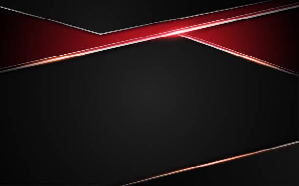 Metallic roter schwarzer Rahmen Design Design Tech Konzept abstrakten Hintergrund – Vektorgrafik