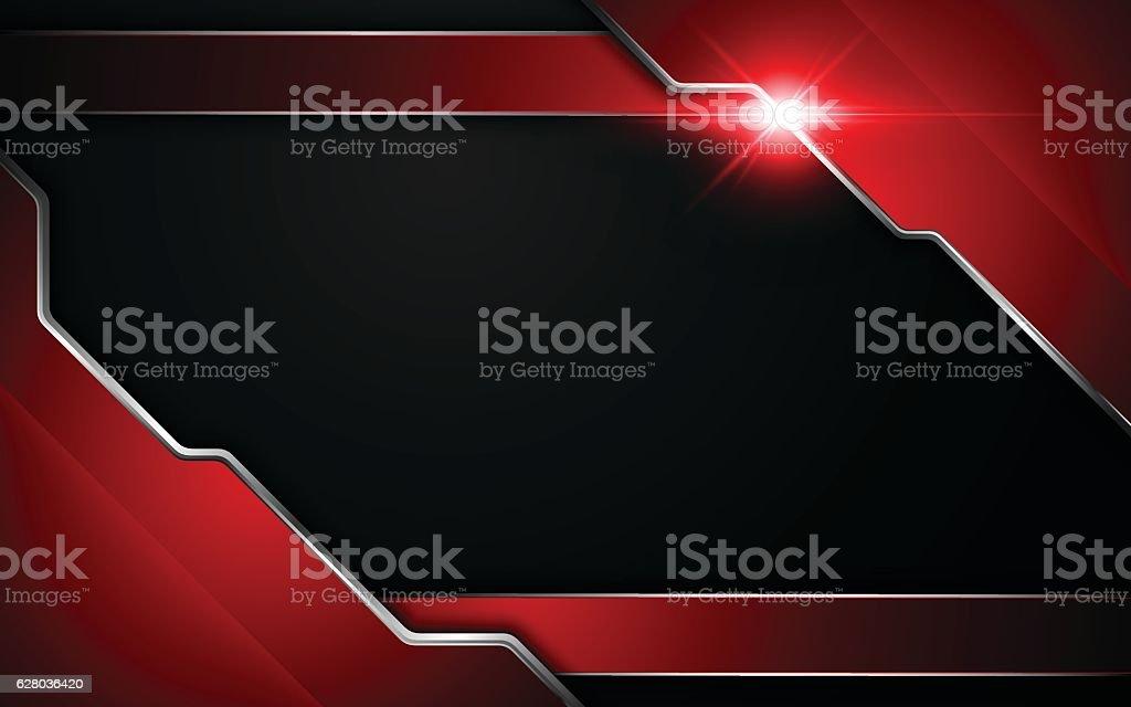 metallic red black frame layout modern tech design template background vector art illustration