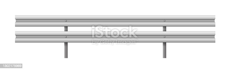 istock Metallic road barrier fence, realistic design isolated on white background 1302175969