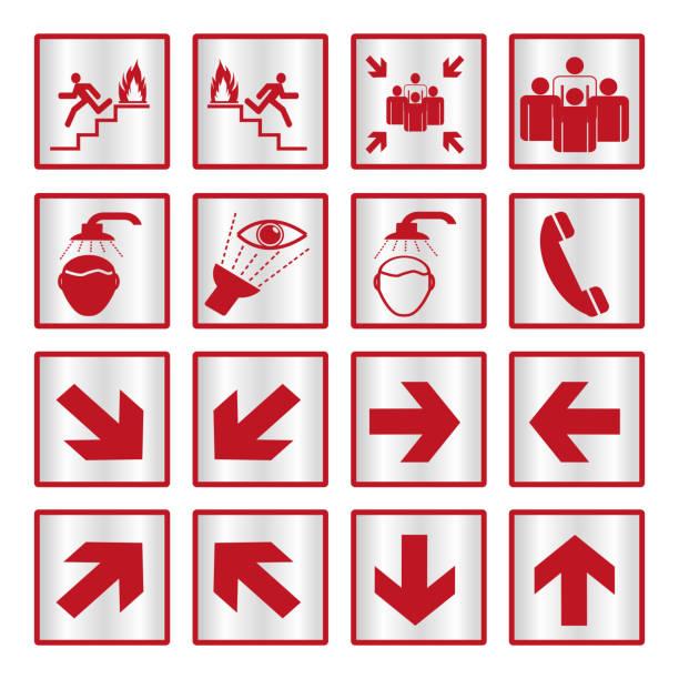 stockillustraties, clipart, cartoons en iconen met metalen veiligheid teken set - arizona highway signs