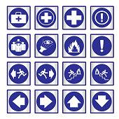 Metallic set blue safety sign