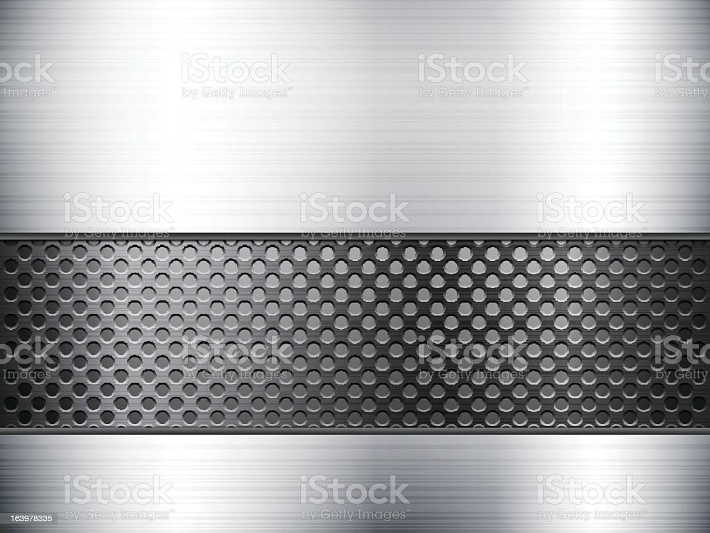 Metallic sheet background with black perforated band royalty-free stock vector art