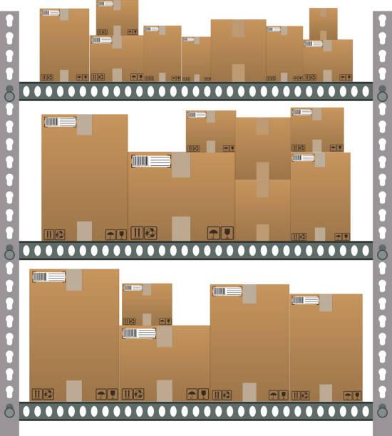 metall regale mit comic brown-boxen. - kastenständer stock-grafiken, -clipart, -cartoons und -symbole
