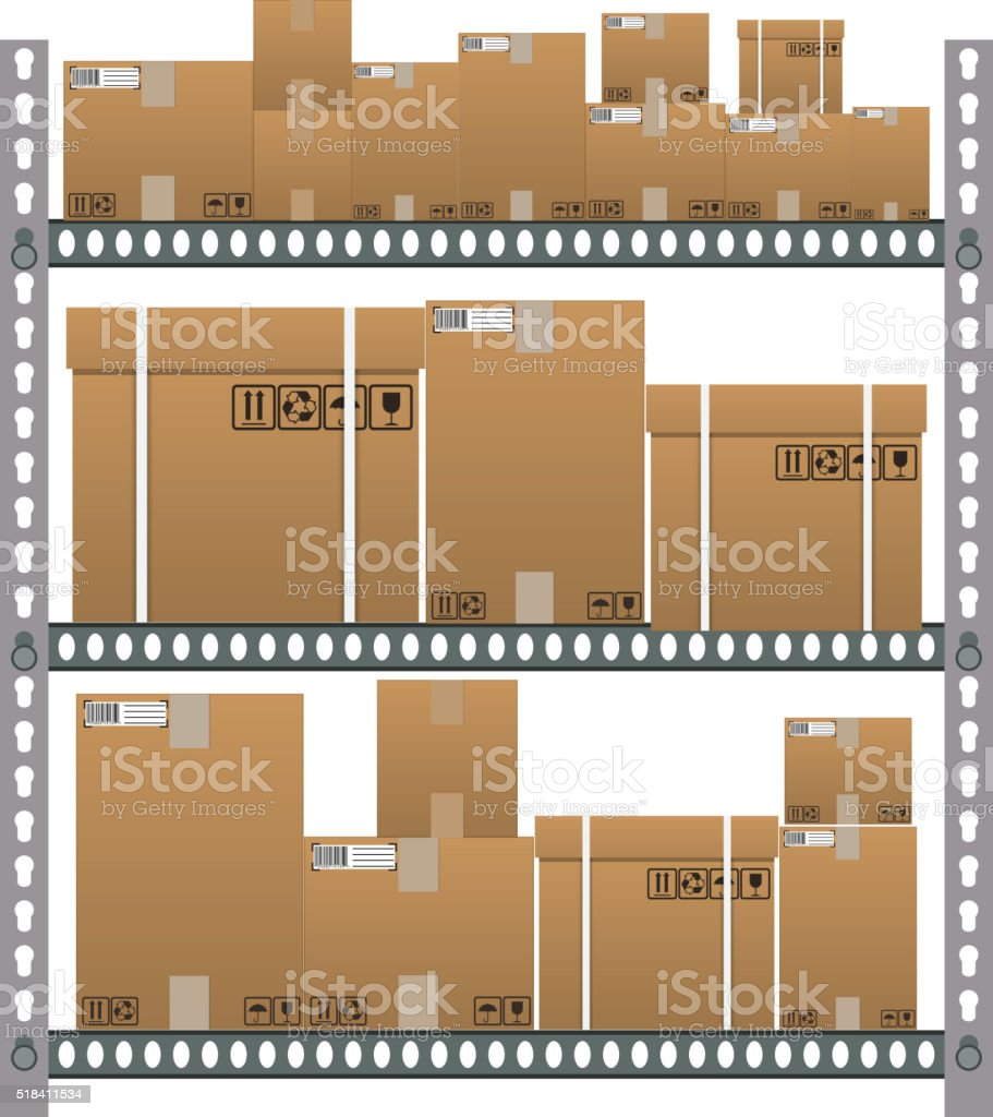 Metallic shelves with cartoon brown boxes. vector art illustration