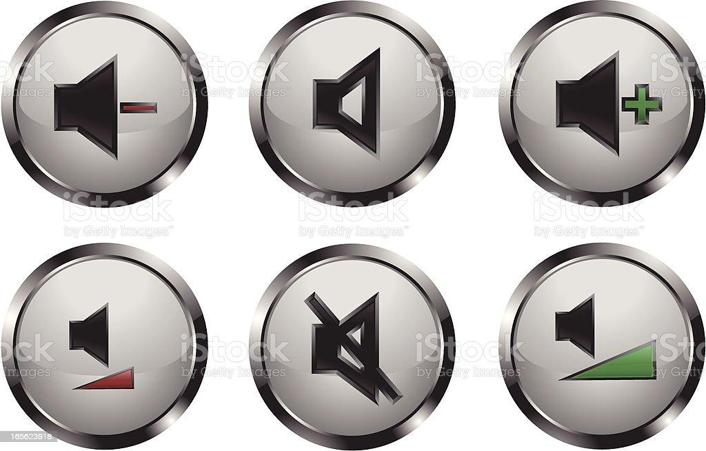 Metallic Shiny Media Player Buttons royalty-free stock vector art