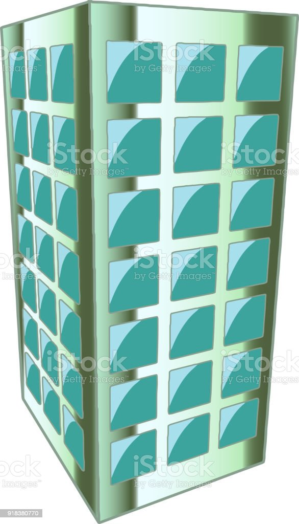 Metallic Silver building Perspective vector art illustration