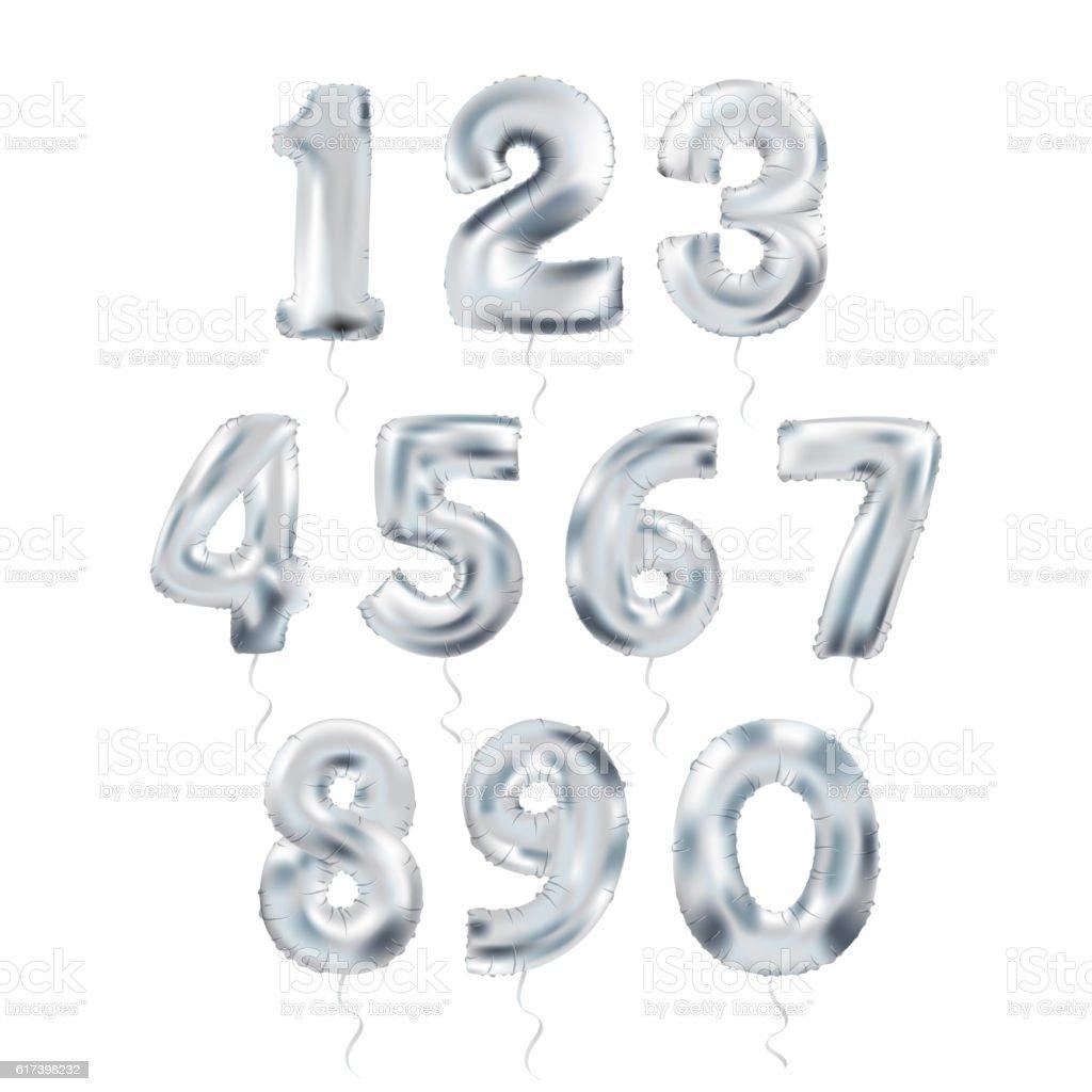 metallic silver letter balloons 123 royalty free metallic silver letter balloons 123 stock vector art