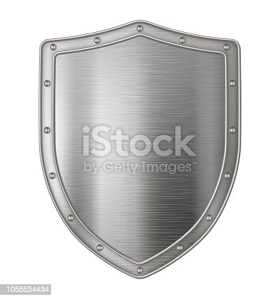 Realistic metal shield, weapon icon, element for coat of arms, EPS 10 contains transparency.