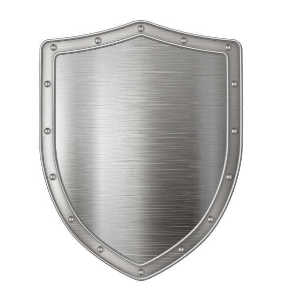 Metallic silver shield Realistic metal shield, weapon icon, element for coat of arms, EPS 10 contains transparency. shield stock illustrations
