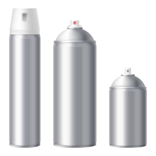 metallic-spray kann sich isoliert auf weißem hintergrund verspotten. leere spraydose mock-up set. große, mittlere und kleine volumen. deodorant, lack, spray von insekten. vektor eps 10. - haarsprays stock-grafiken, -clipart, -cartoons und -symbole