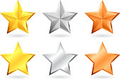 metallic star designs in gold silver and bronze. This royalty free vector illustration features 6 metallic stars. the starts have a realistic metal texture and are on white background. There are three stars in each row and these star designs can be used to represent achievement and success concepts.