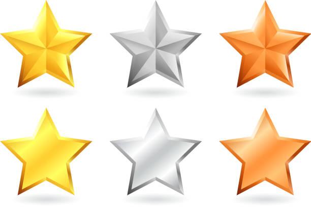 metallic-stern-design in gold, silber und bronze - silber stock-grafiken, -clipart, -cartoons und -symbole