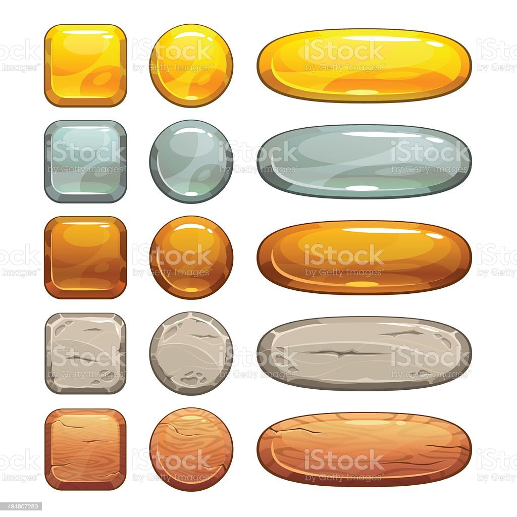 Metallic, stone and wooden buttons set vector art illustration
