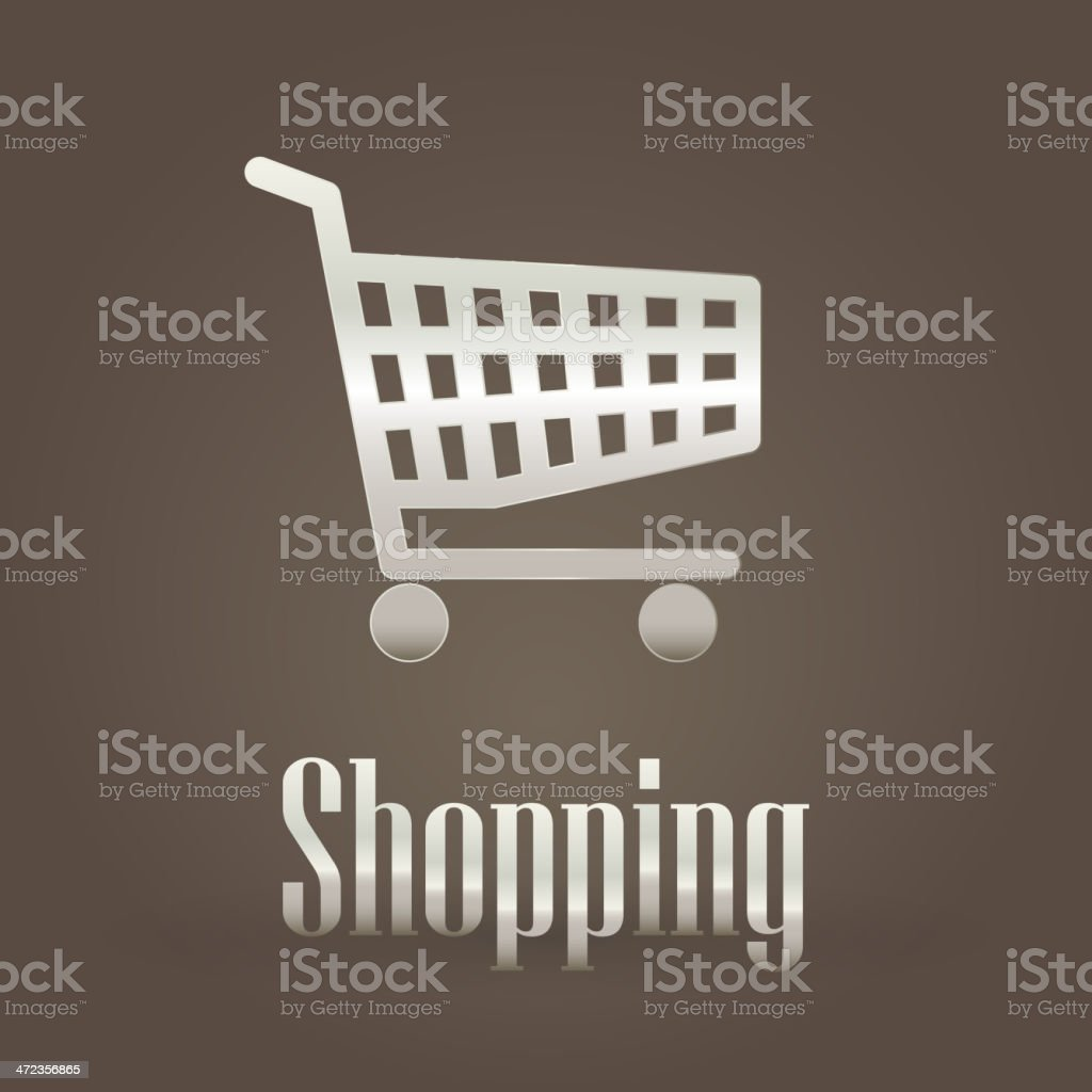 Metallic symbol with shopping cart royalty-free stock vector art