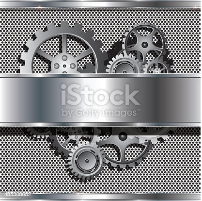 Vector Illustration : Metallic texture and stainless steel with cog gears
