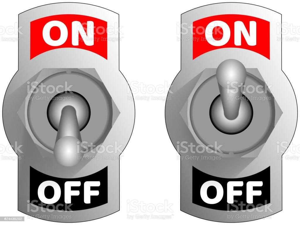Metallic toggle switcher. Realistic switcher design. Vector chrome toggle switcher. vector art illustration