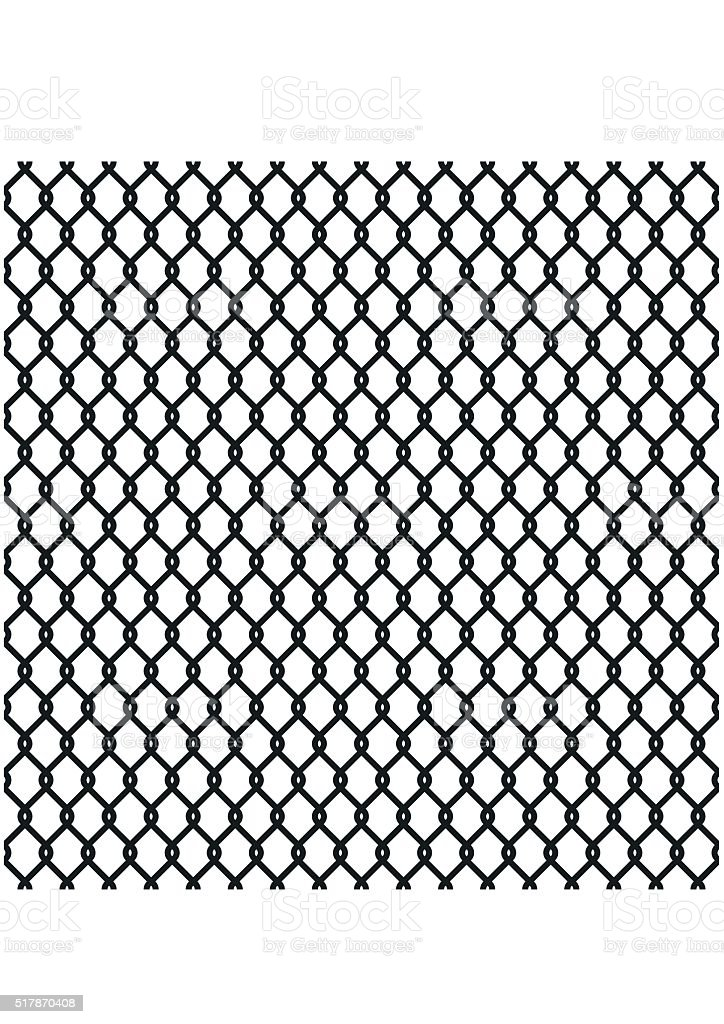 Metallic wired Fence pattern isolated on white. Steel Wire Mesh. vector art illustration