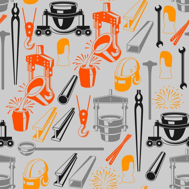 metallurgische nahtlose muster - metallverarbeitung stock-grafiken, -clipart, -cartoons und -symbole