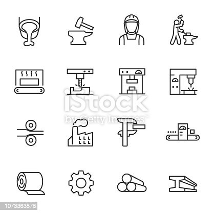 Metallurgy, icon set. Metal production industry. Machining and fabrication steel products.  editable stroke