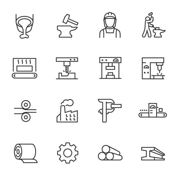 hutnictwo, zestaw ikon. przemysł produkcji metali, ikony liniowe. obróbka i produkcja wyrobów stalowych. linia z edytowalnym obrysem - produkować stock illustrations