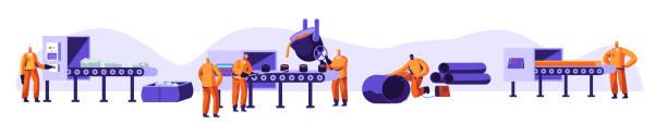 metallurgie-industrieset. resource mining, schmelzen von metall in big foundry, hot steel gießung im stahlwerk. werkswerkstatt. stahlarbeiter im metallurgie-prozess. cartoon-flach-vector-illustration - metallverarbeitung stock-grafiken, -clipart, -cartoons und -symbole