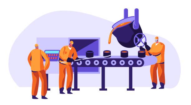 metallurgie-industriearbeiter in uniform schmelzmetall in big foundry und gießhülsen oder eisenschalen in form während des schmelzprozesses, metallproduktionsfirma cartoon flat vector illustration - metallverarbeitung stock-grafiken, -clipart, -cartoons und -symbole