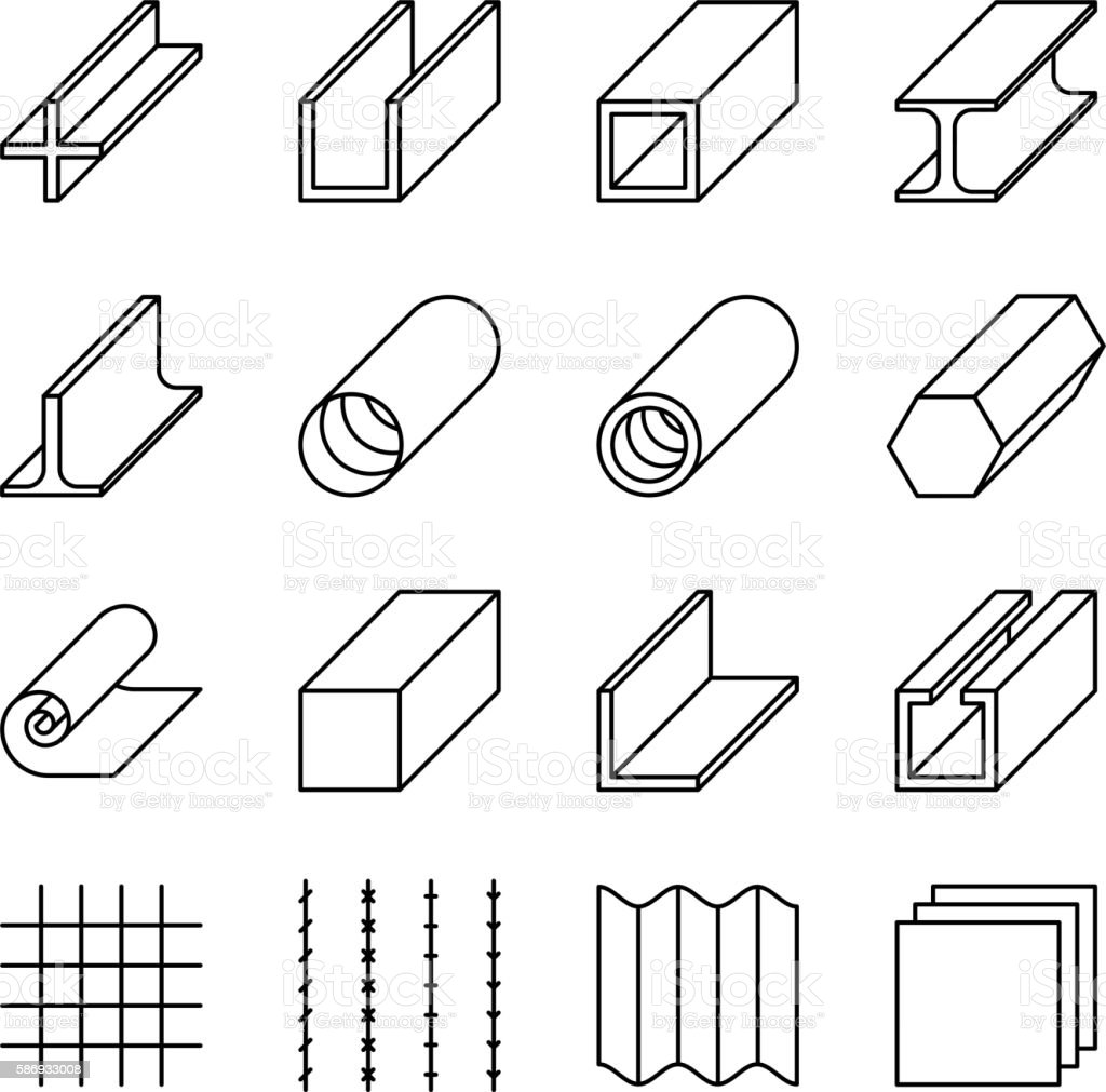 Metallurgy products line vector icons vector art illustration