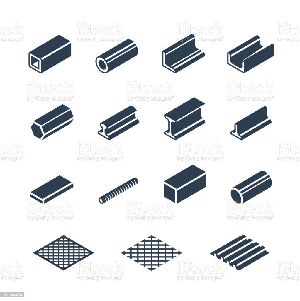 Metallurgy products vector icon set vector art illustration